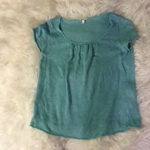 Eileen Fisher medium ruffle front knit blouse
